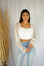 Sheer to Party Crop Top White