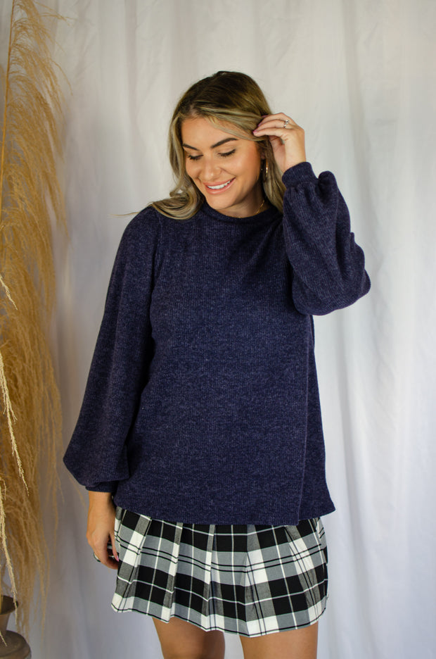 Stronger Feelings Knit Top Navy