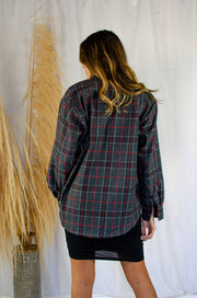 James Flannel Top Charcoal