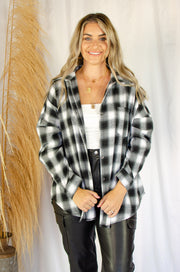 Shelby Plaid Button Up Top Black