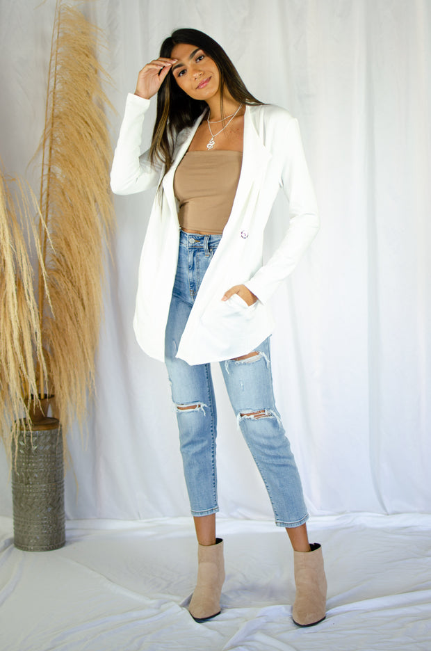 December Vibes Blazer White
