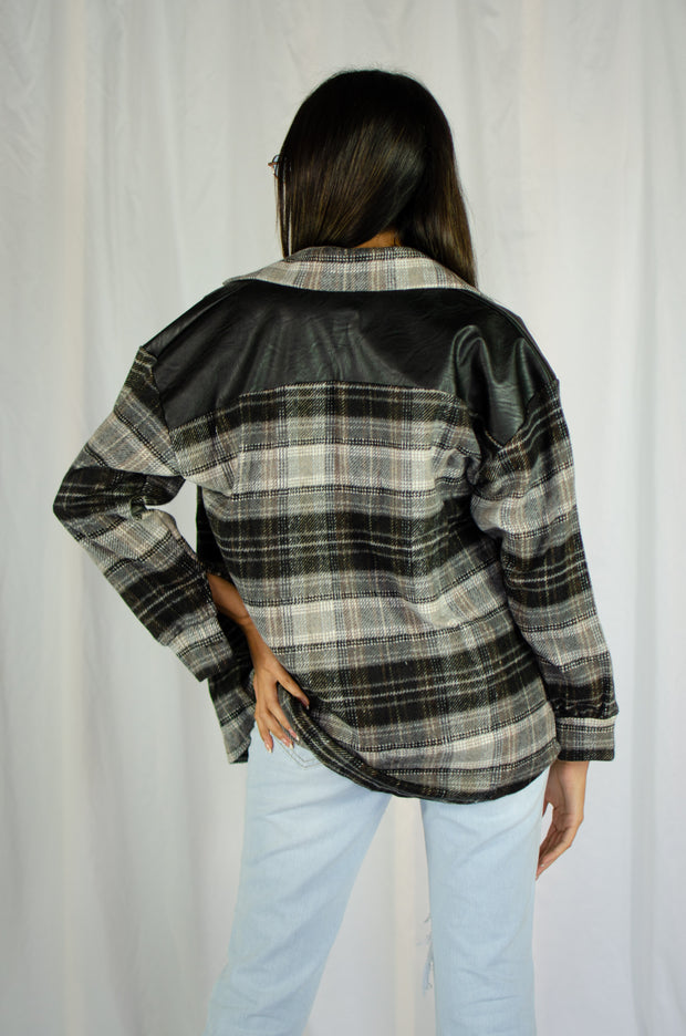 Christopher Leather Plaid Shacket Grey