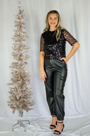 Twinkle Twinkle Sequins Top Black