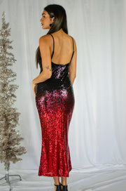 Holiday Party Sequins Maxi Dress Black