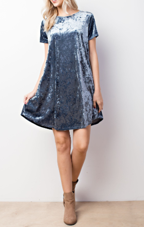 Bad At Surprises Velvet Dress Blue - Shellsea