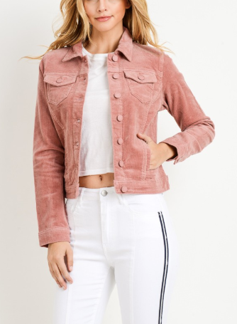 Not About You Corduroy Jacket Rose