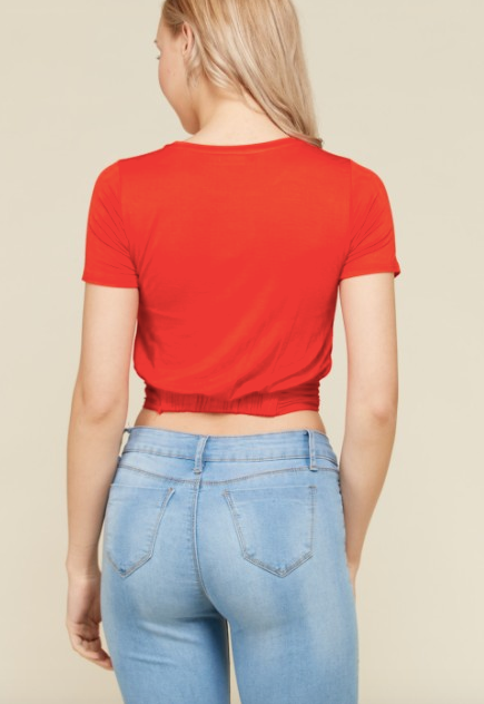 Flick Of The Twist Crop Top Rust