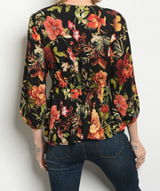 Island Time Floral Top Black