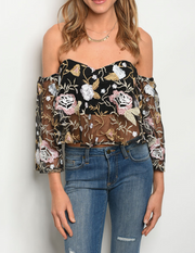 Mesh With Me Floral Top Black