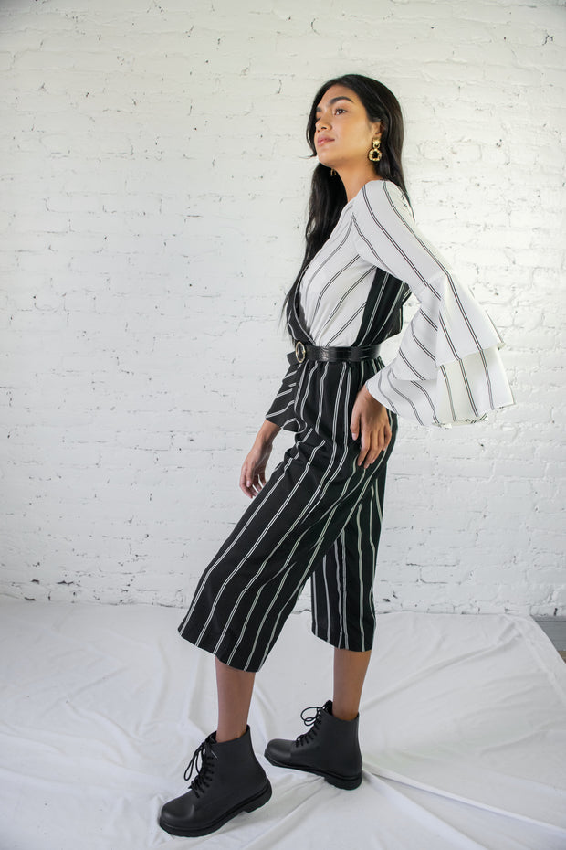 Split Decision Striped Jumpsuit