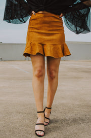 Whirl Record Suede Skirt Camel