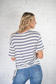 Knotical Feeling Striped Top White