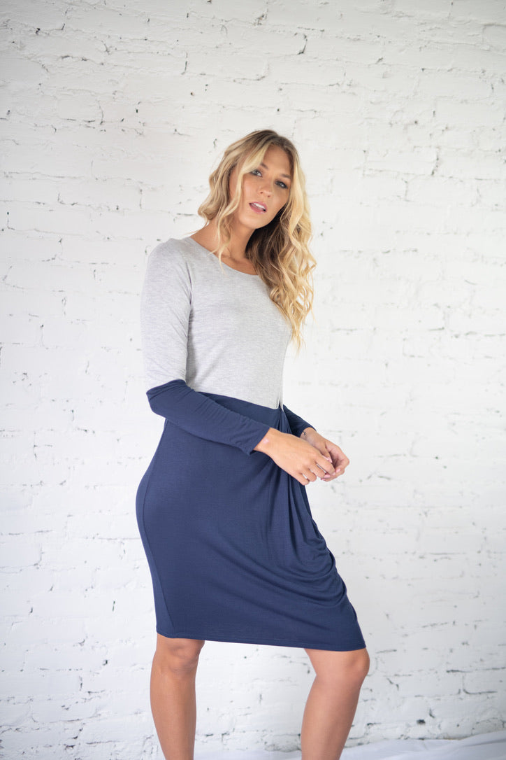 Able Staple Midi Dress Navy