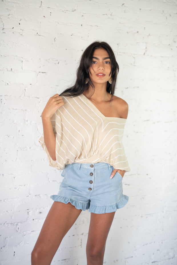 Matter Of Fact Striped Top Taupe