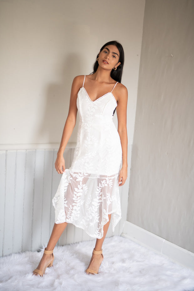 Faded Love Lace Dress White