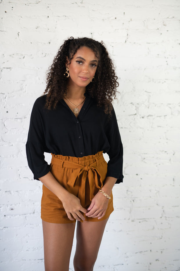 Business Babe Button Up Top Black