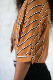 Speak Louder Striped Top Camel