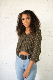 Speak Louder Striped Crop Top Olive