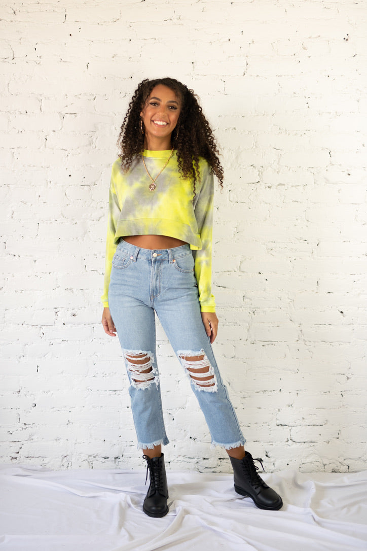 Just Cropped In Sweater Neon