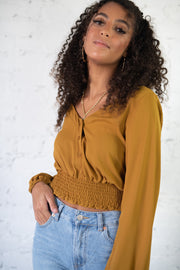 Talking Smock Crop Top Camel