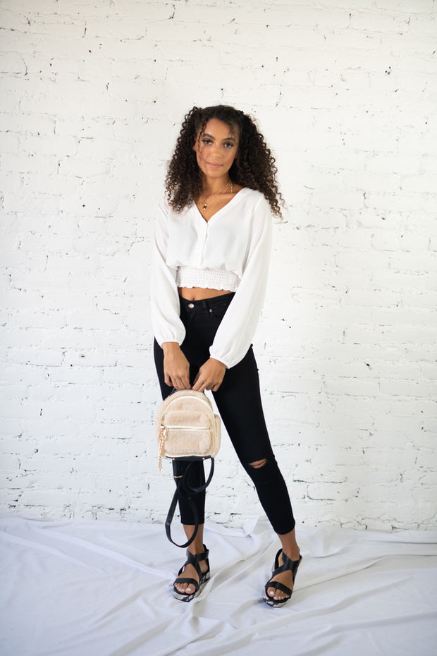 Talking Smock Crop Top White