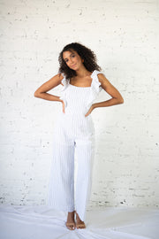 Selfish Love Striped Jumpsuit White