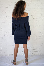 Still Wishing Off The Shoulder Tunic Navy