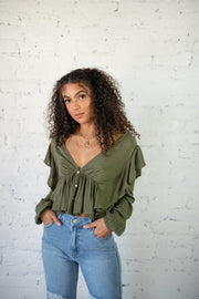 Lovely Love Crop Top Olive