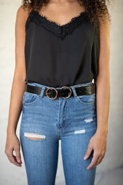 Faux Leather Double Ring Belt