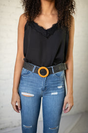 Straw Braid Circle Buckle Belt