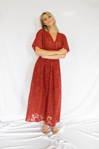 Classy Endings Lace Maxi Dress Red - Shellsea