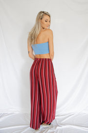 Ribbed Tie Front Tube Top Blue