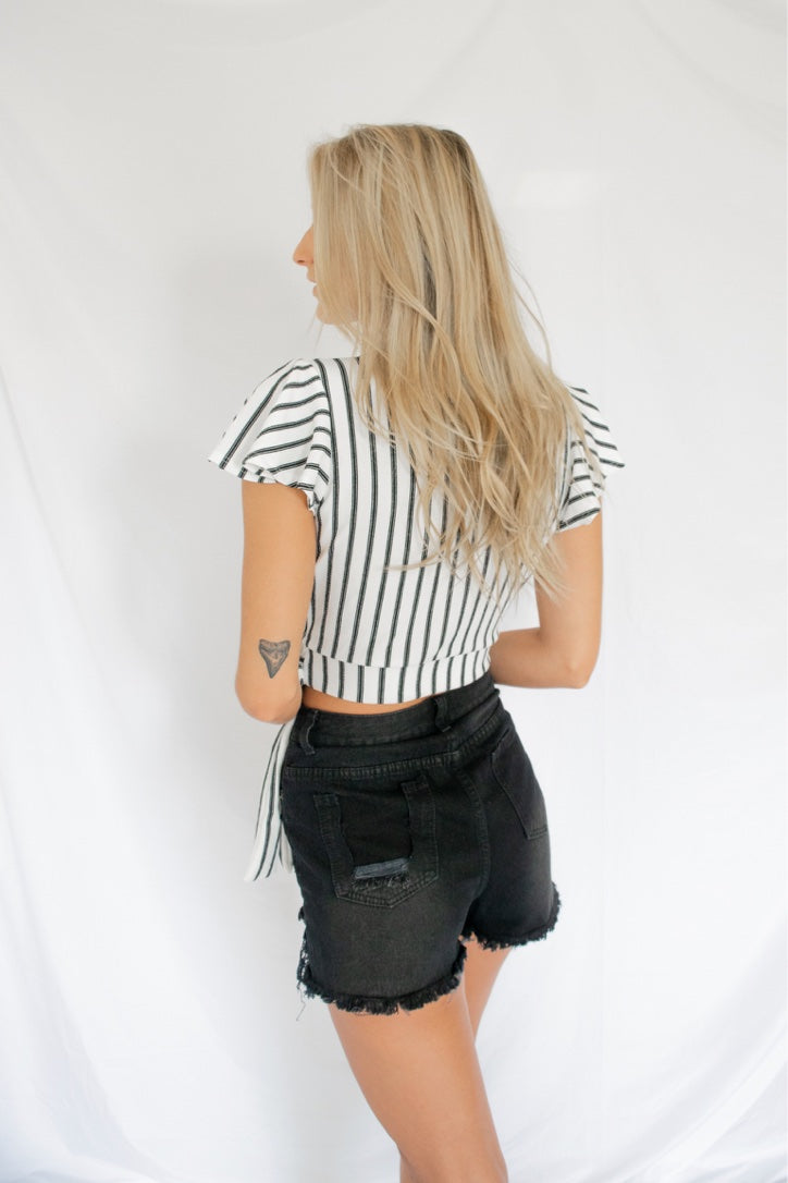 Knot or Not Tied Striped Crop Top