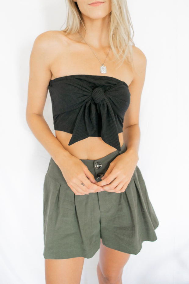 Ribbed Tie Front Tube Top Black