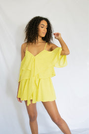Ruffled Right Gingham Romper Yellow