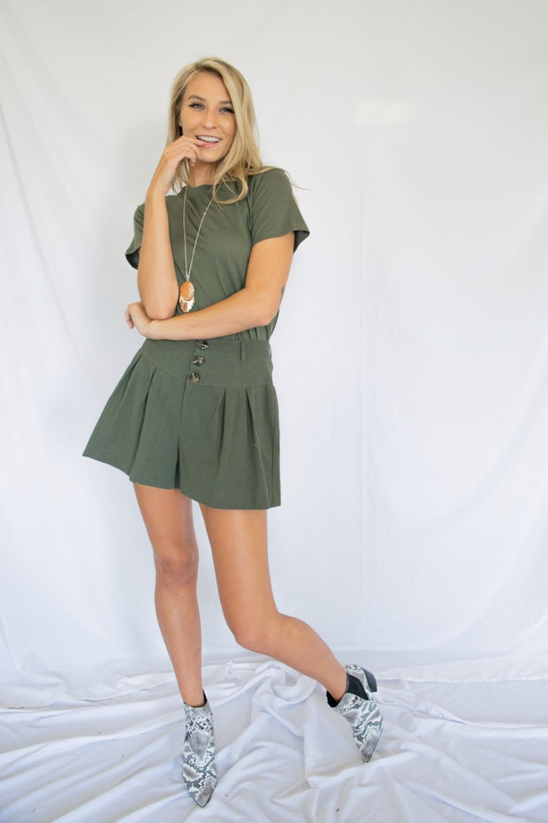 Pleats And Thank You Shorts Olive