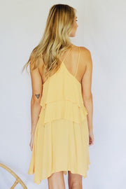 Tier I Am Ruffled Dress Mustard