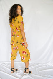 Dream Of The Crop Floral Jumpsuit Mustard