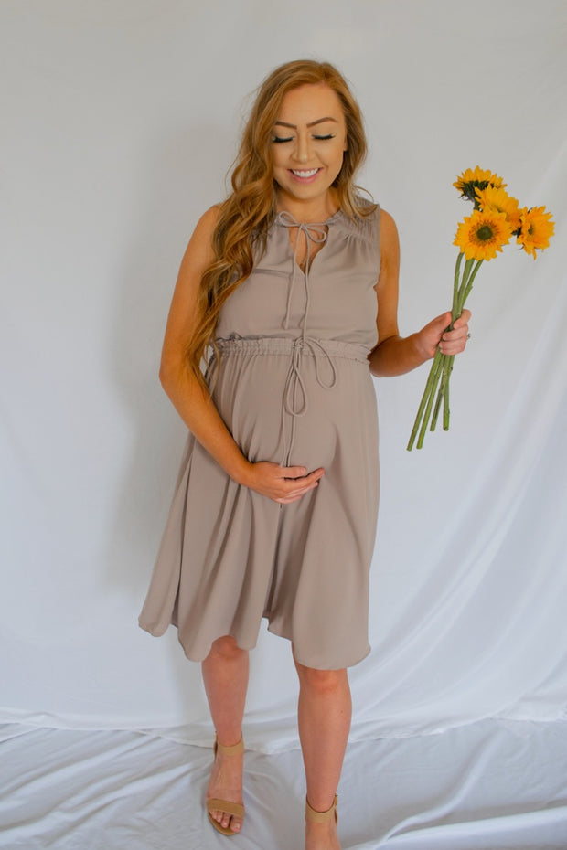 Tie Me A River Sleeveless Dress Mocha