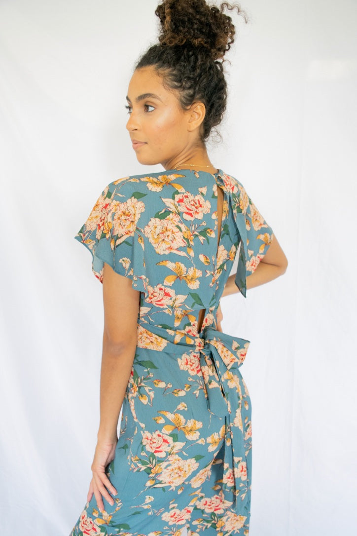 Solar Flower Cropped Jumpsuit Chambray