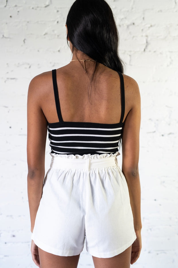 Light Hearted Striped Crop Top Black