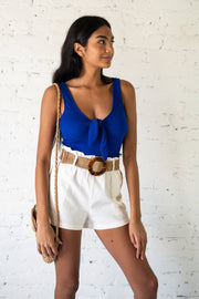 Blink Of A Tie Crop Top Blue
