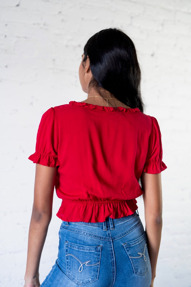 Glow With It Crop Top Red