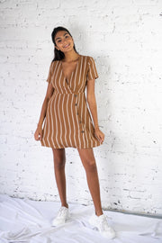 Only The Best Striped Dress Camel