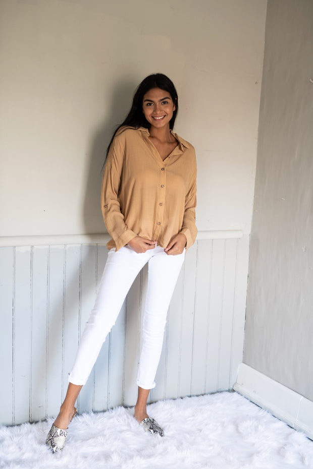 Button Up Babe Top Taupe