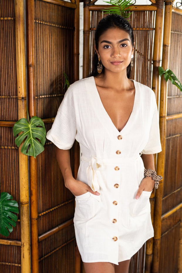 In A Rush Linen Dress Ivory