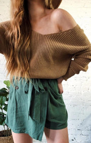 Put A Twist On It Sweater Camel
