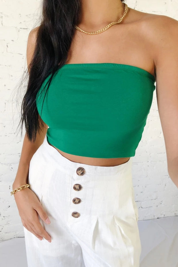Crop Of My Game Tube Top Green