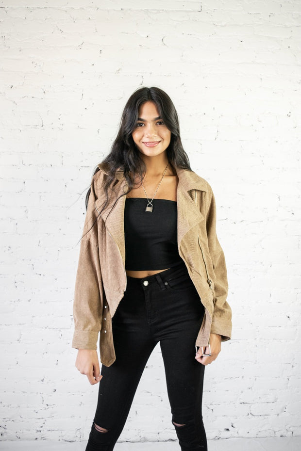 Corduroy Your Way Jacket Taupe