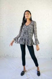 Pretty In Paisley Top Gray
